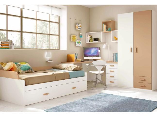 Chambre pour enfant composition L103 avec lit gigogne - GLICERIO