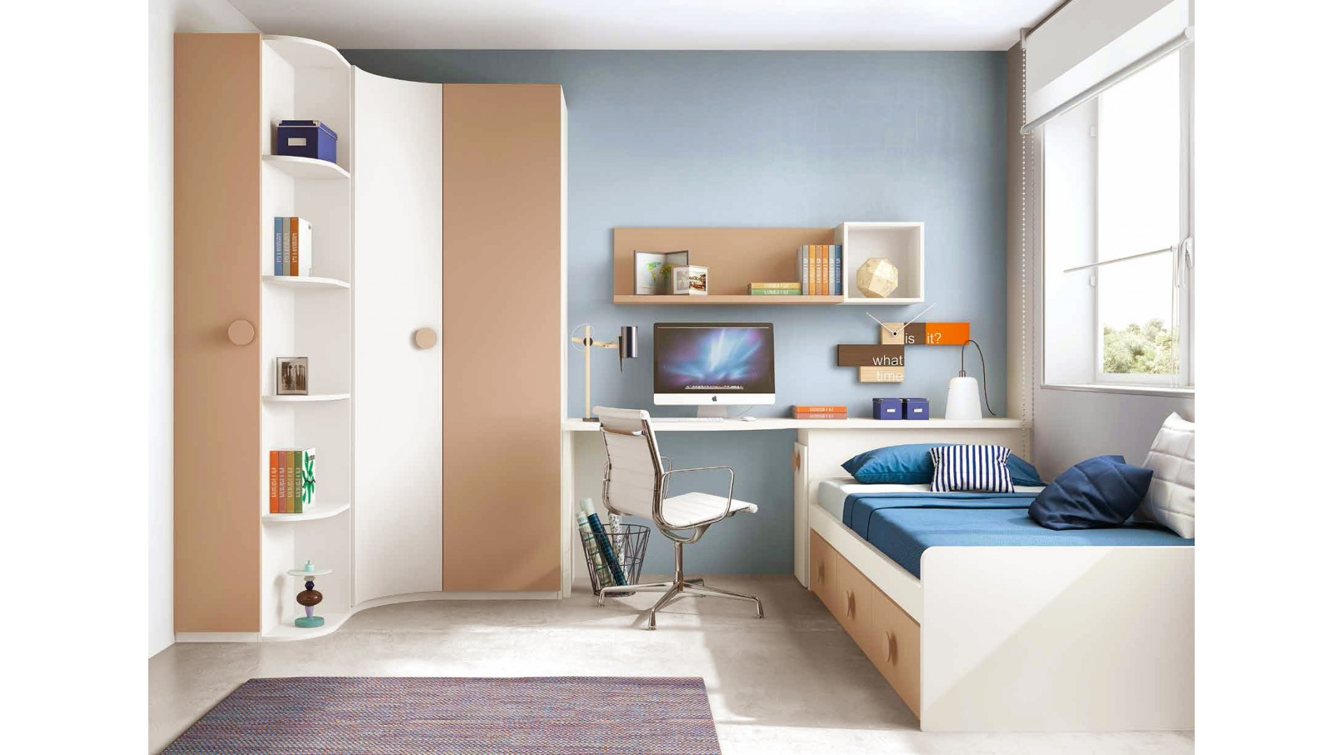 chambre enfant originale avec une armoire d 39 angle glicerio so nuit. Black Bedroom Furniture Sets. Home Design Ideas