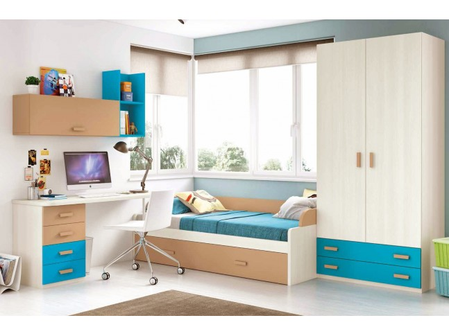 chambre enfant garcon composition l avec lit gigogne. Black Bedroom Furniture Sets. Home Design Ideas