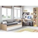 Chambre moderne ado composition L107 avec lit 2 coffres - GLICERIO