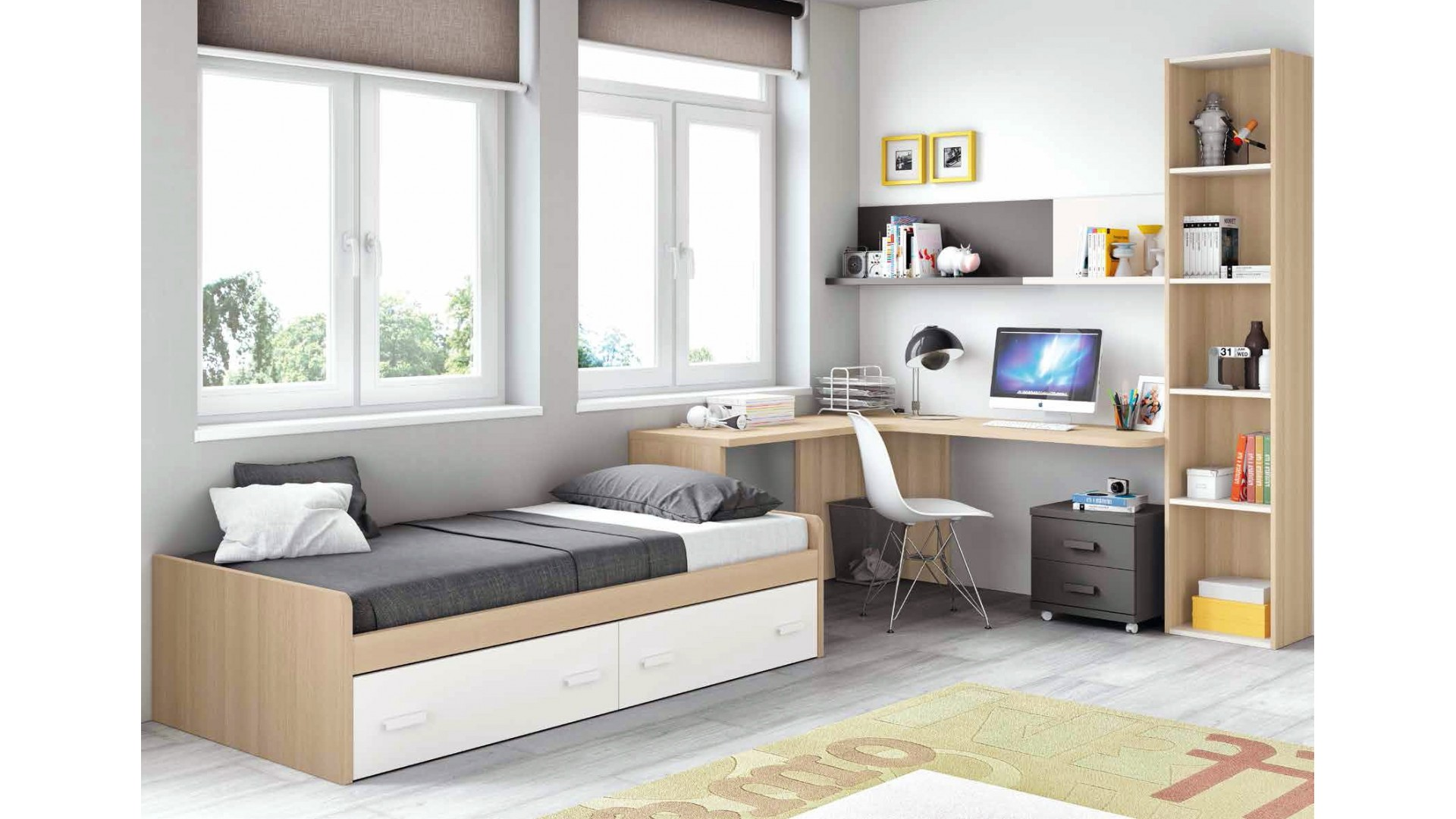 chambre moderne ado et fun avec lit 2 coffres glicerio so nuit. Black Bedroom Furniture Sets. Home Design Ideas