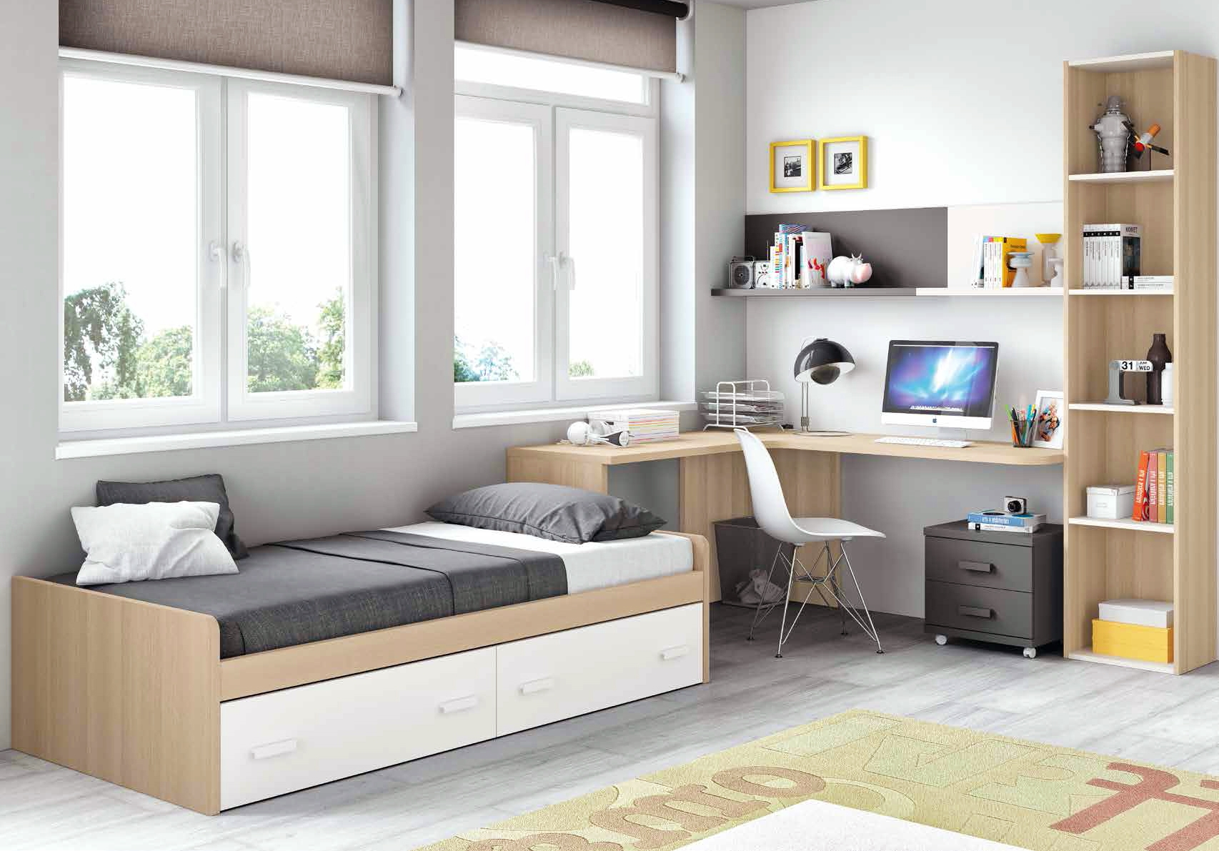 chambre moderne ado et fun avec lit 2 coffres glicerio. Black Bedroom Furniture Sets. Home Design Ideas