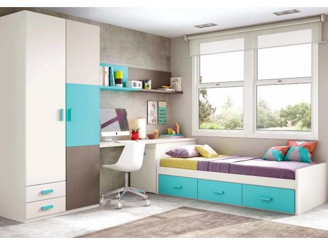 Chambre enfant garcon composition L108 avec lit 3 coffres - GLICERIO
