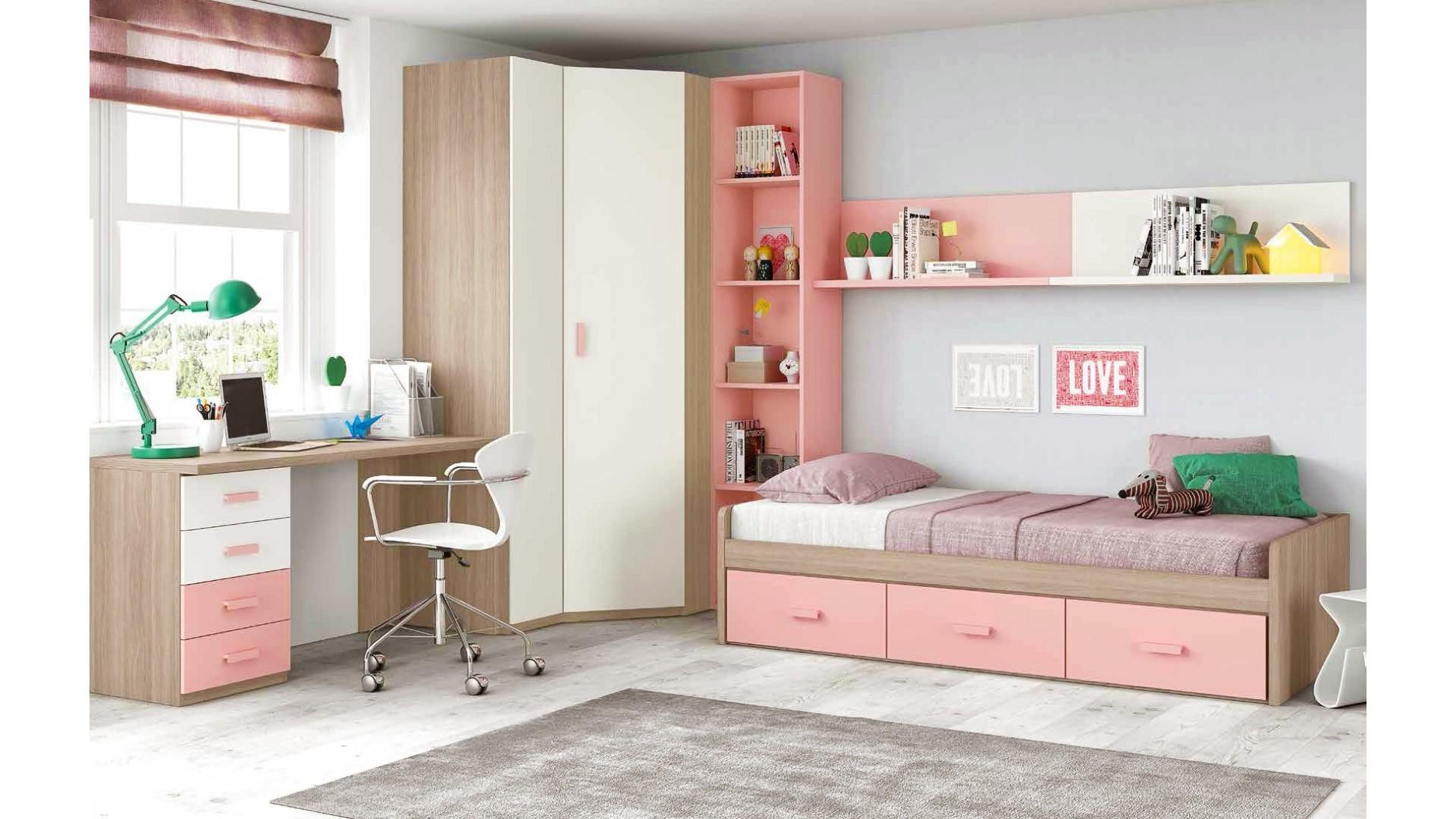 chambre ado fille douce et rose avec lit 3 coffres- GLICERIO - SO NUIT