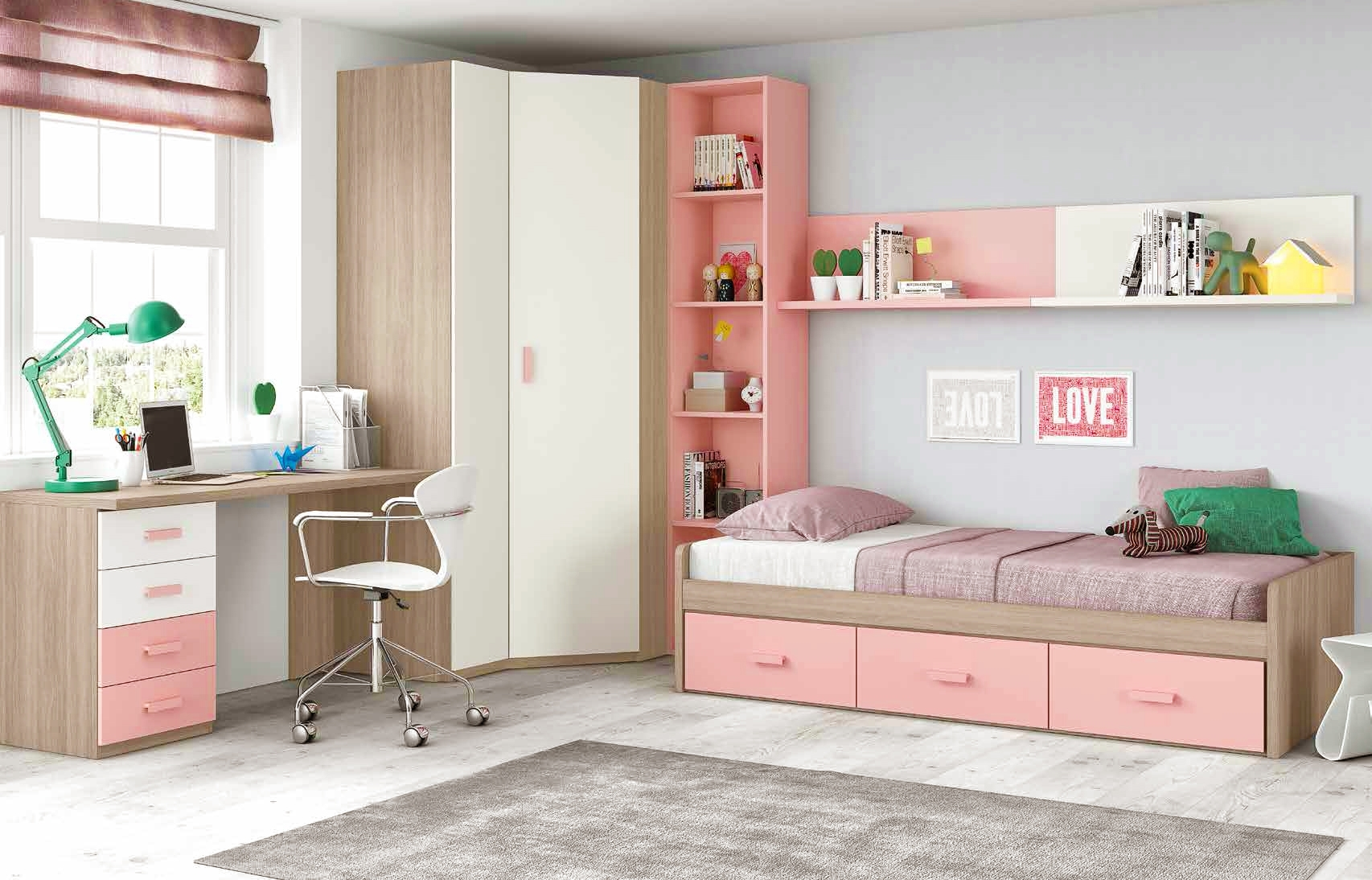 chambre ado fille douce et rose avec lit 3 coffres. Black Bedroom Furniture Sets. Home Design Ideas