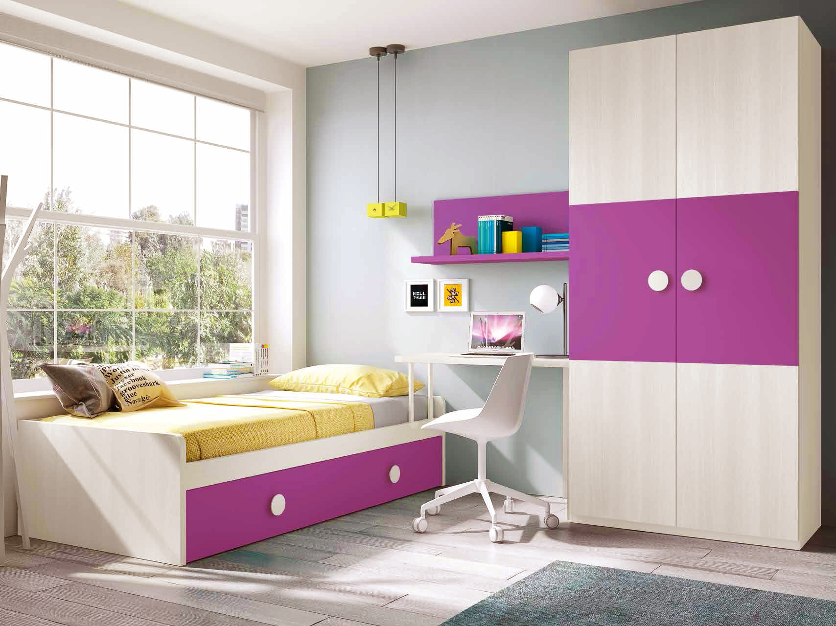 chambre compl te fille fruit e et fun glicerio so nuit. Black Bedroom Furniture Sets. Home Design Ideas