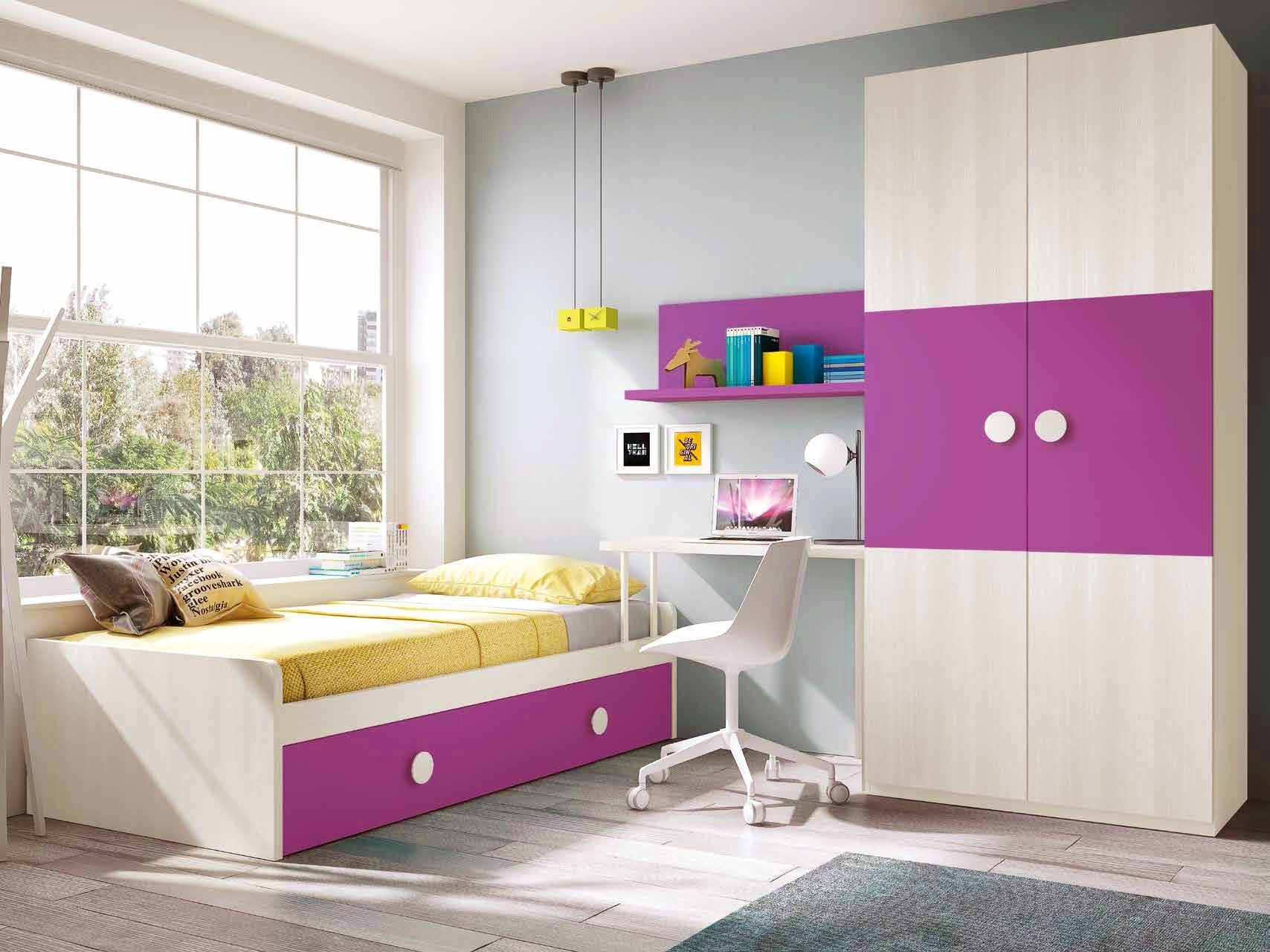 Chambre complète fille composition L111 avec lit gigogne - GLICERIO