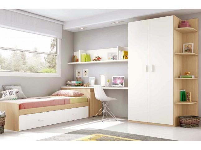 Chambre moderne ado composition L113 avec lit gigogne - GLICERIO