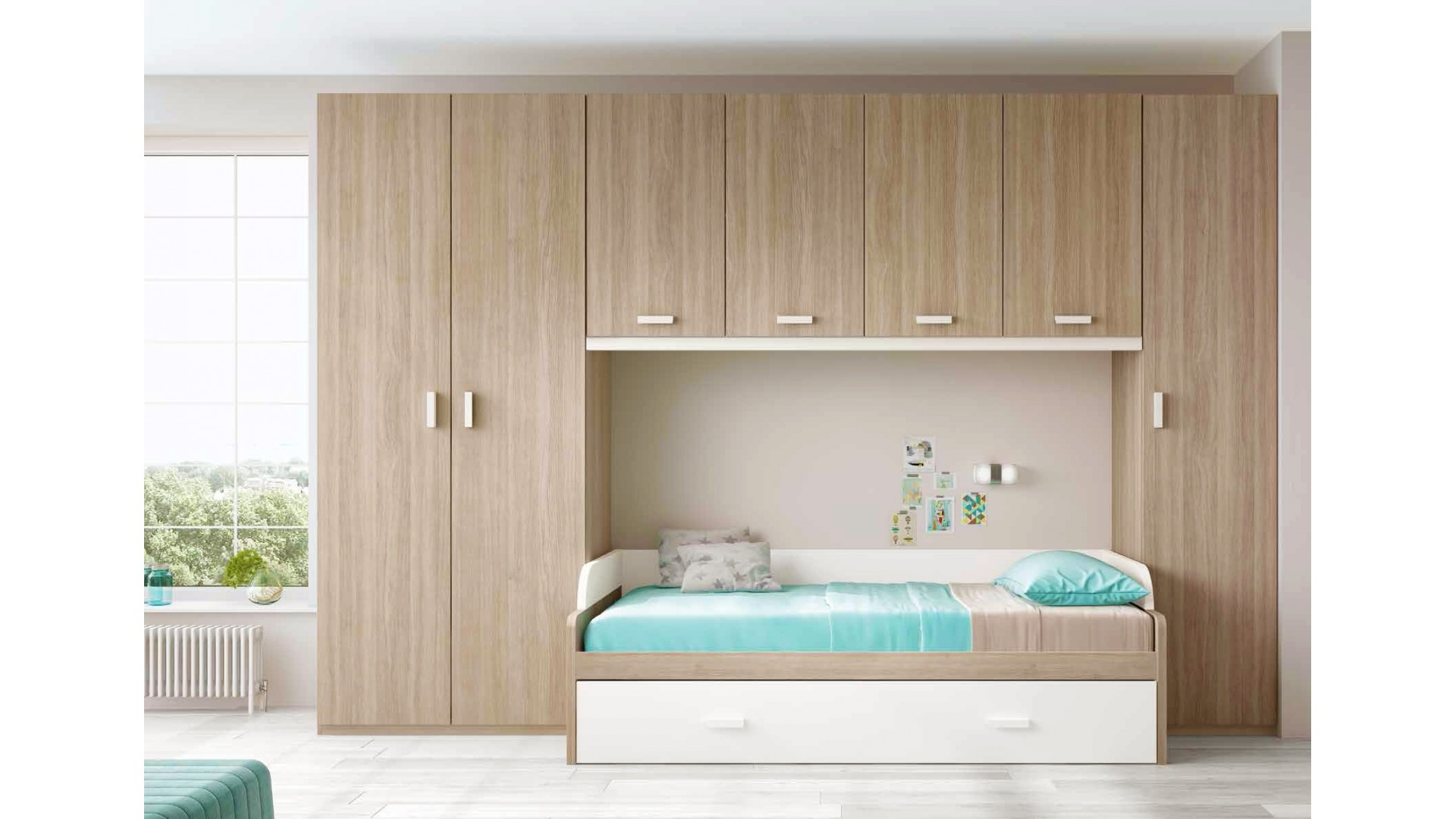 Chambre pour ado composition L114 avec lit gigogne - GLICERIO