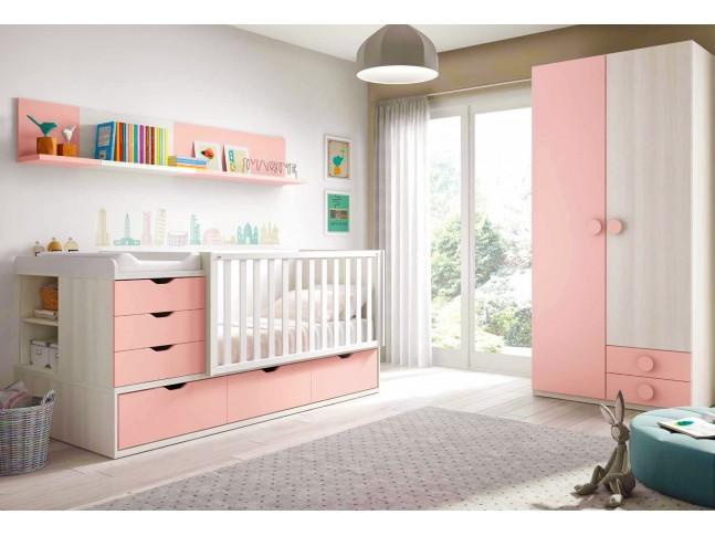 Chambre de bébé fille composition L115 avec lit évolutif - GLICERIO