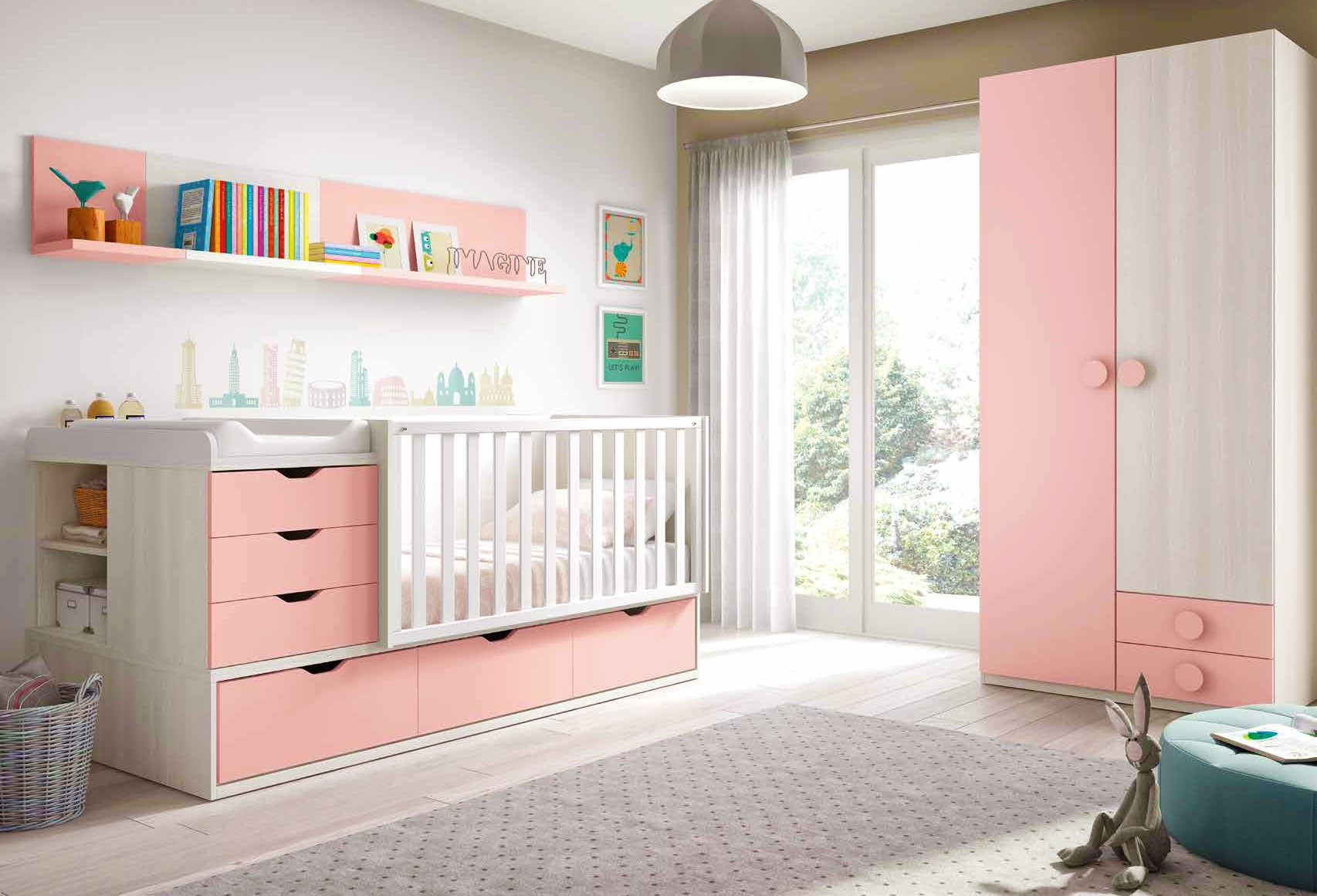 Chambre de b b fille compl te avec lit volutif for Photo de chambre de bebe fille