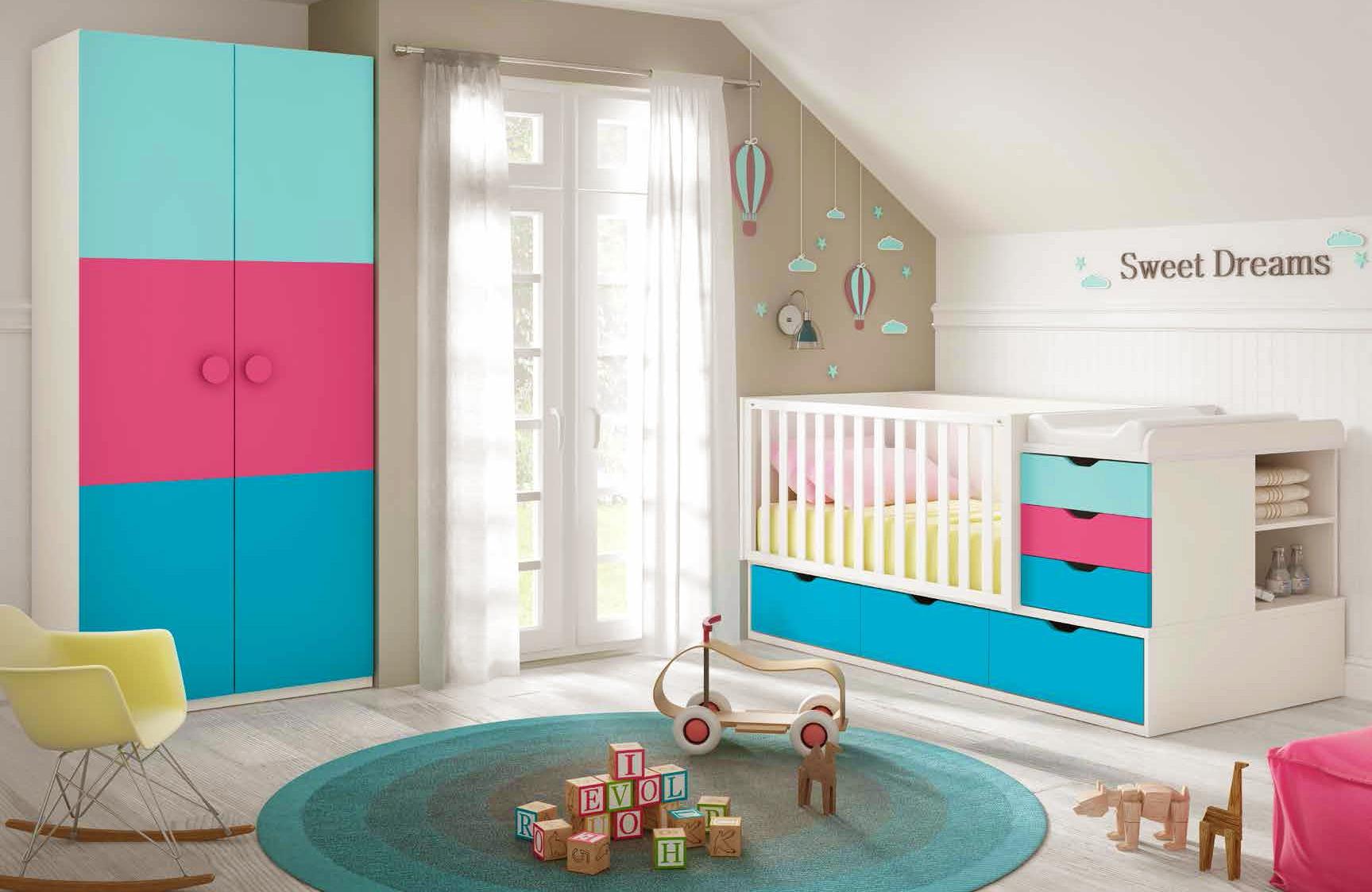 Chambre de bébé complete composition L116 avec lit évolutif - GLICERIO