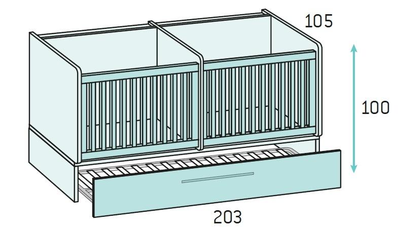 chambre b b fille avec un lit jumeaux volutif glicerio so nuit. Black Bedroom Furniture Sets. Home Design Ideas