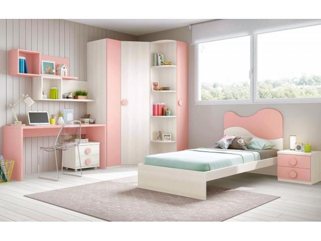 Chambre fille princesse composition L300 avec lit 1 personne - GLICERIO