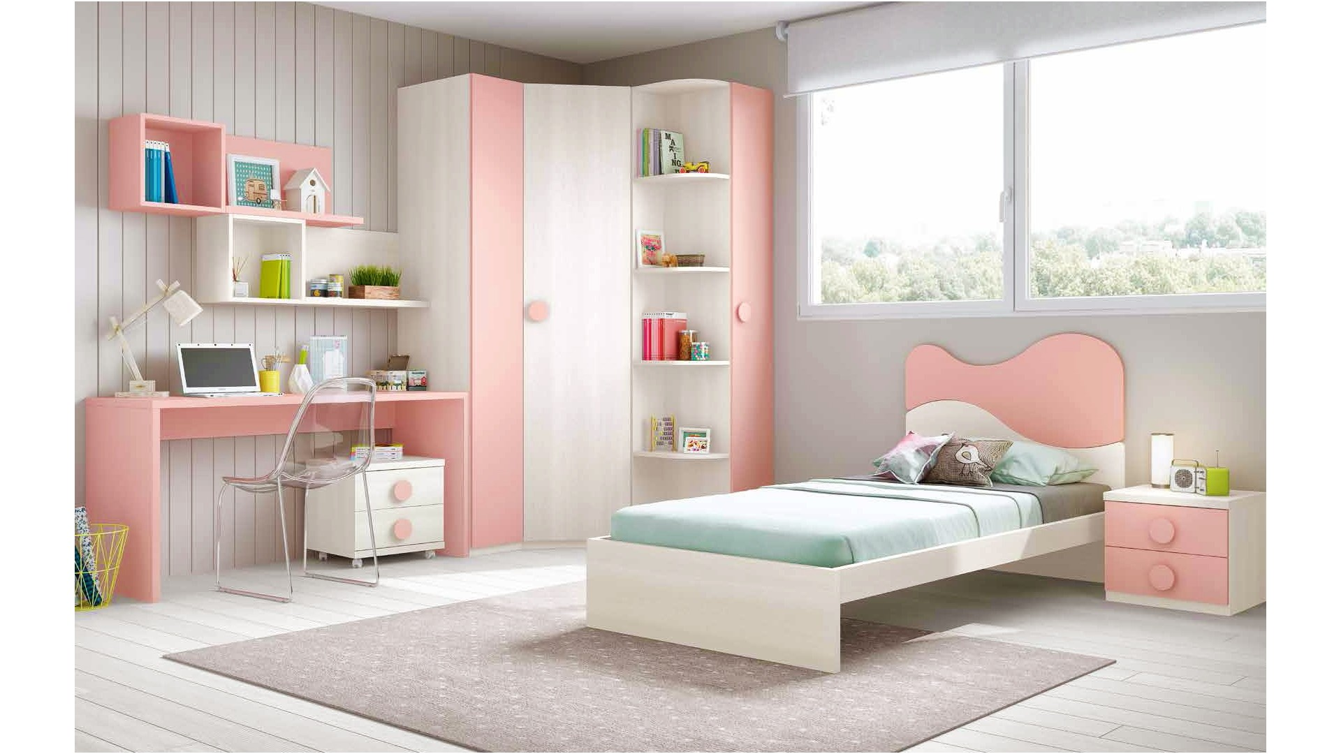 chambre fille princesse avec lit 1 personne glicerio so nuit. Black Bedroom Furniture Sets. Home Design Ideas