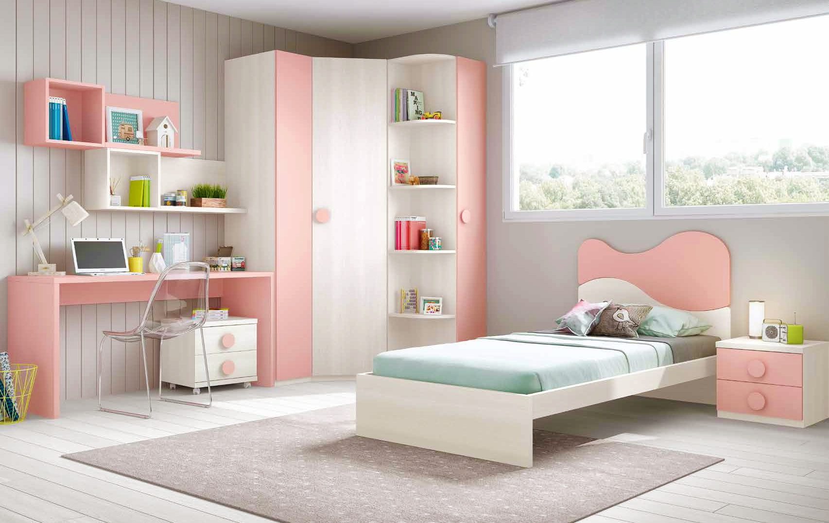 Chambre fille simple for Chambre fille rose et taupe