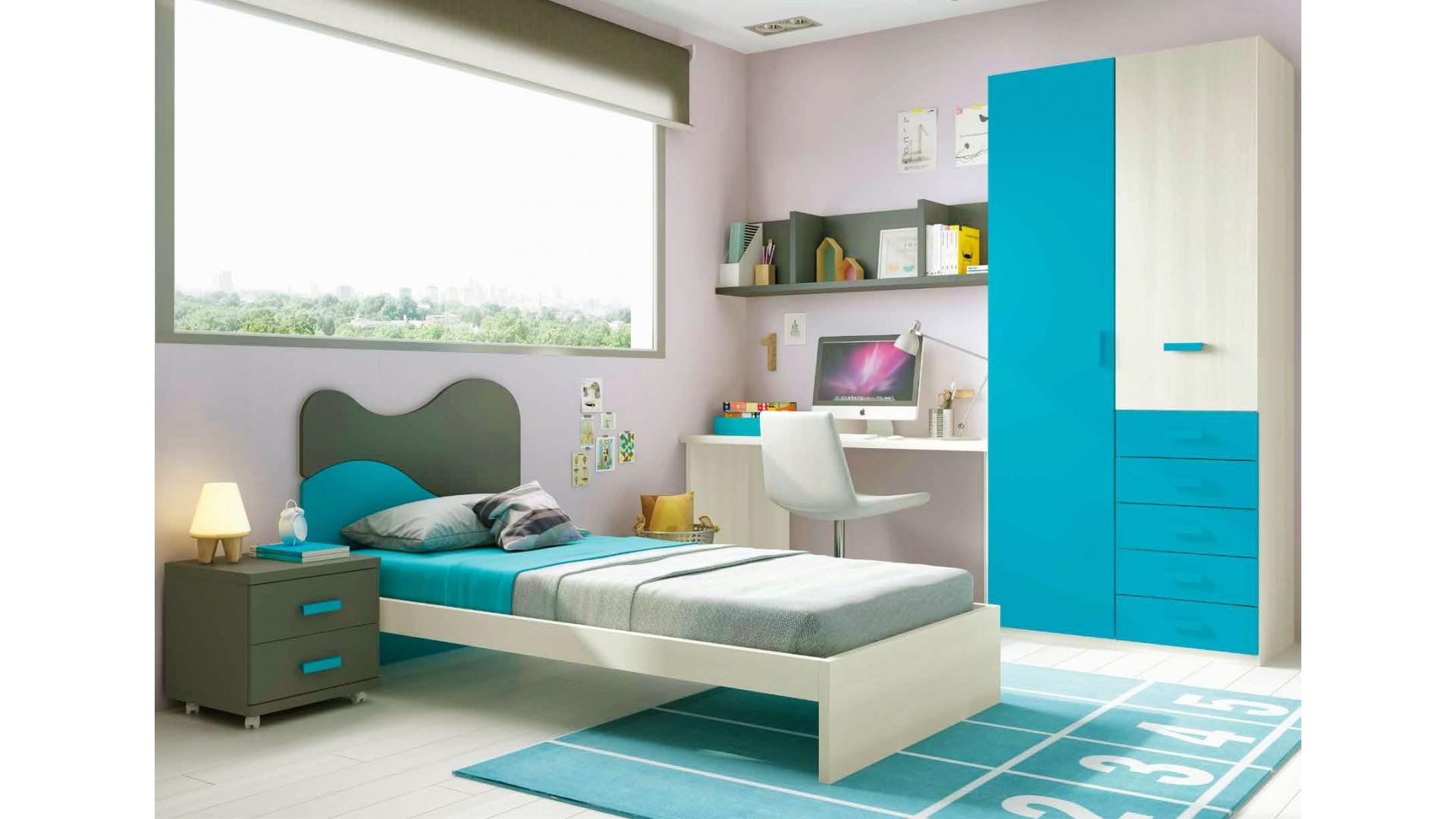 Chambre enfant avec lit 1 personne L301 avec lit 1 personne - GLICERIO