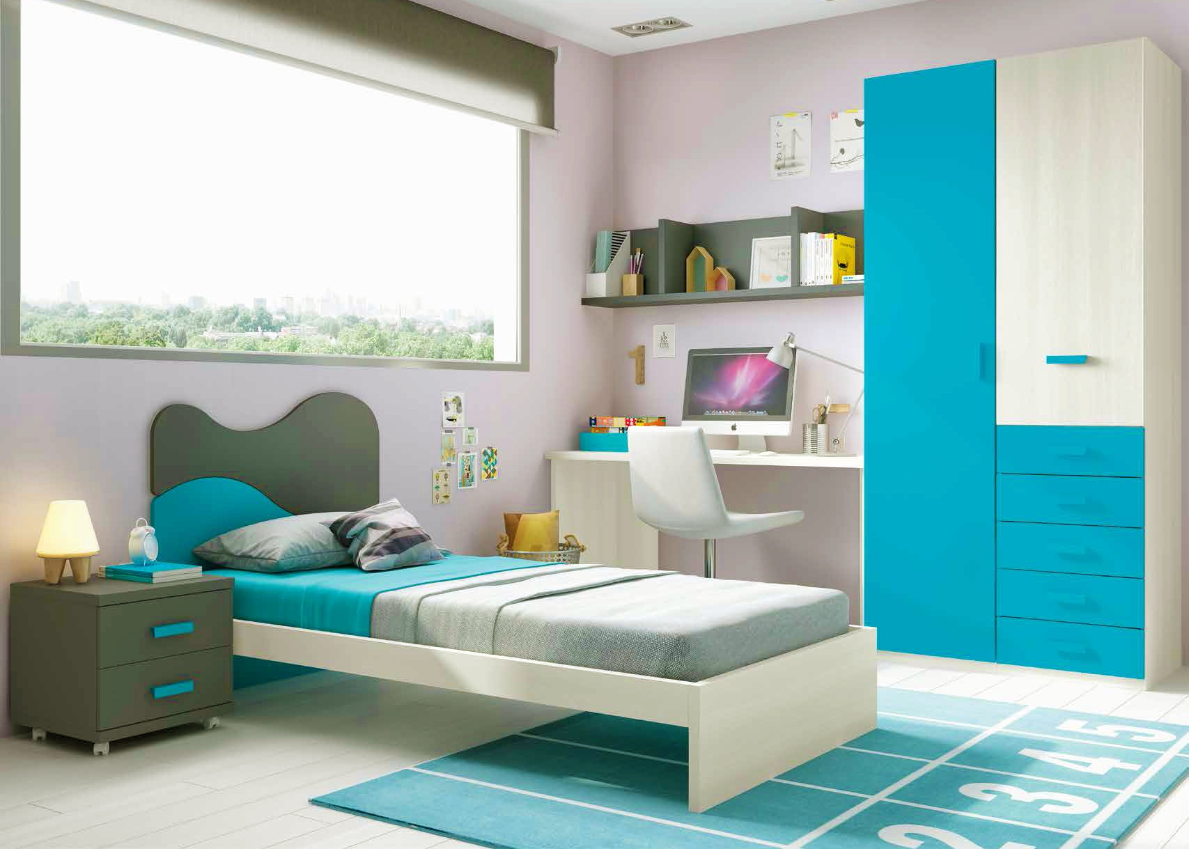 chambre enfant avec lit 1 personne fun et moderne. Black Bedroom Furniture Sets. Home Design Ideas