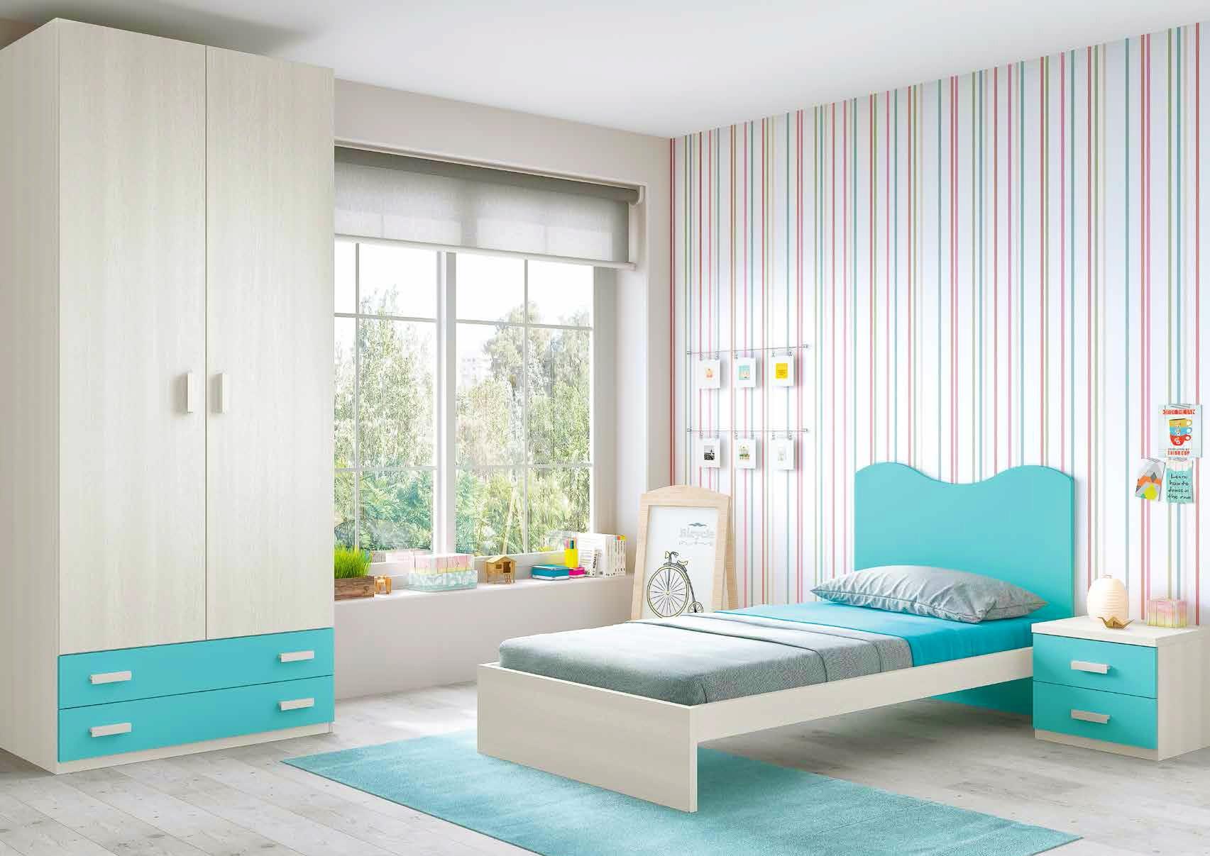 Chambre enfant composition L302 avec lit 1 personne - GLICERIO