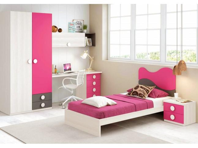 Chambre fille composition L303 avec lit 1 personne - GLICERIO