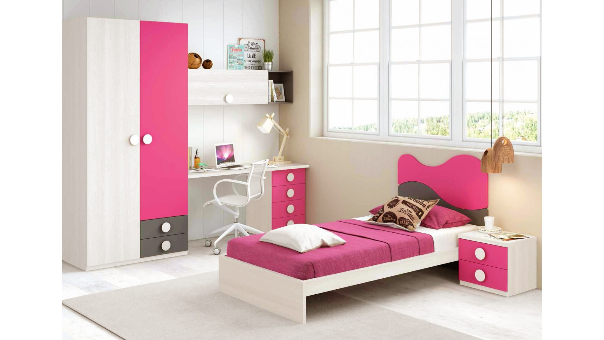 chambre fille de couleur peps avec lit 1 personne glicerio so nuit. Black Bedroom Furniture Sets. Home Design Ideas