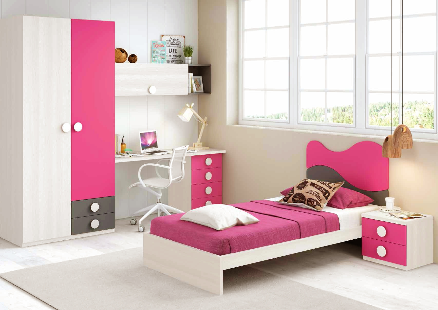chambre fille de couleur peps avec lit 1 personne. Black Bedroom Furniture Sets. Home Design Ideas