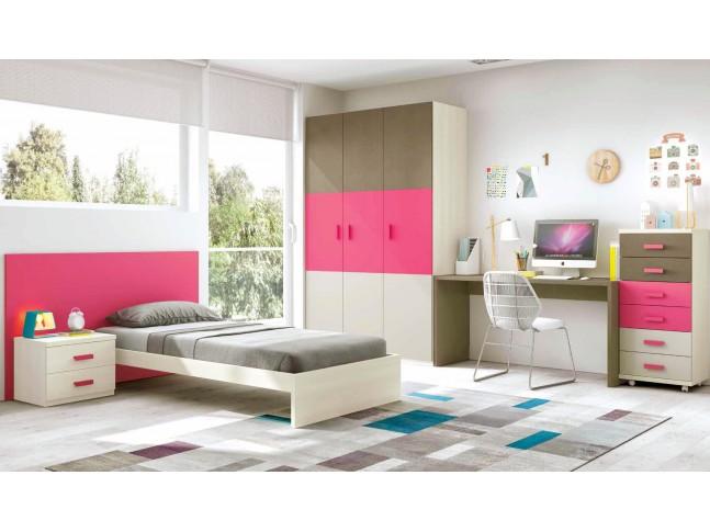 Chambre fille composition L305 avec lit 1 personne - GLICERIO