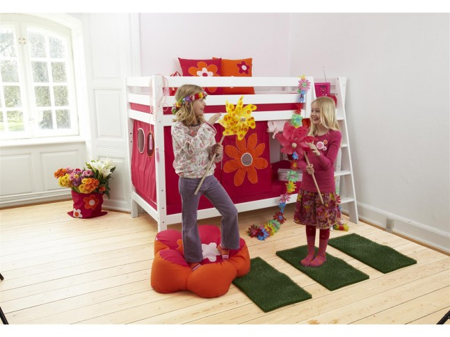 Lit superposé fille PERSONNALISABLE Flower power couchage 90x200 cm- HOPPEKIDS