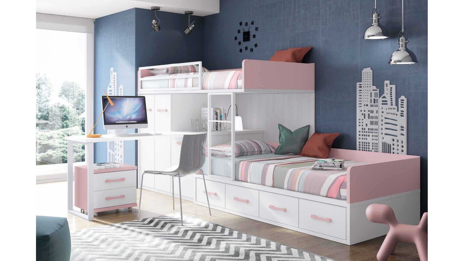 lit superpos fille avec bureau et rangement glicerio. Black Bedroom Furniture Sets. Home Design Ideas