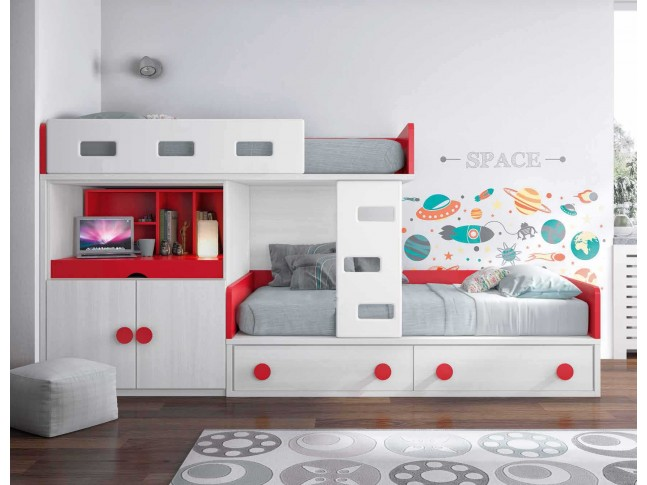 lit superpos fille avec bureau et rangement glicerio so nuit. Black Bedroom Furniture Sets. Home Design Ideas