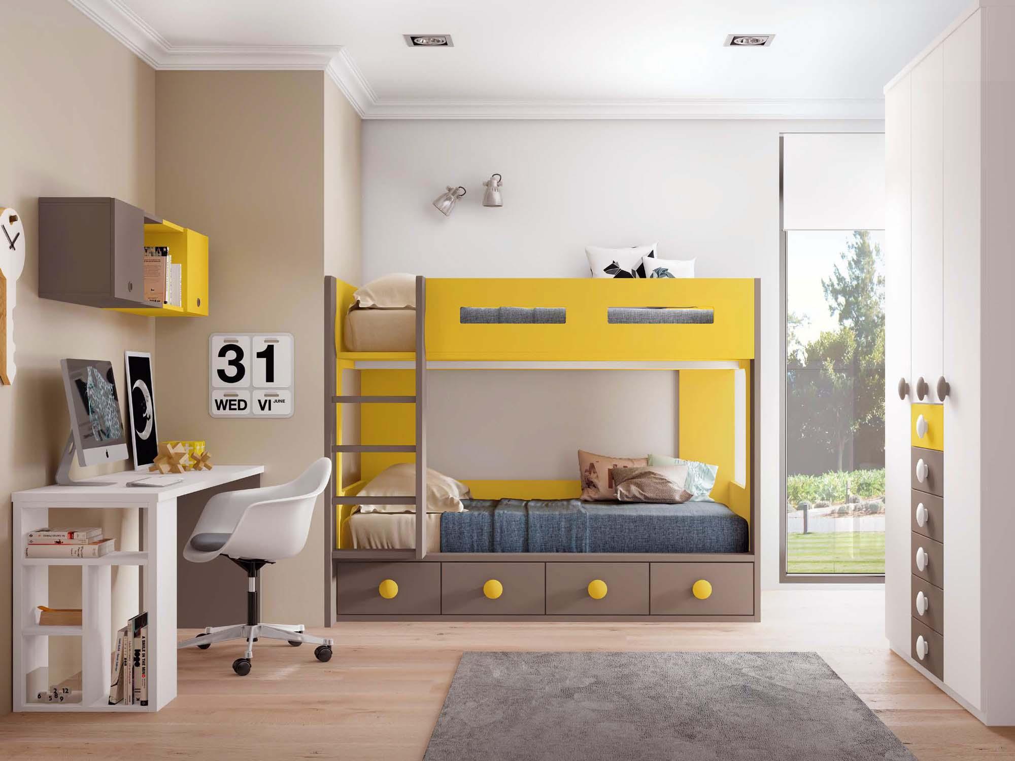 Chambre avec lits superposés PERSONNALISABLES F263 - GLICERIO
