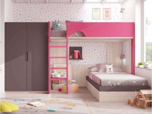 Chambre avec lit superposé fille PERSONNALISABLE F269 - GLICERIO