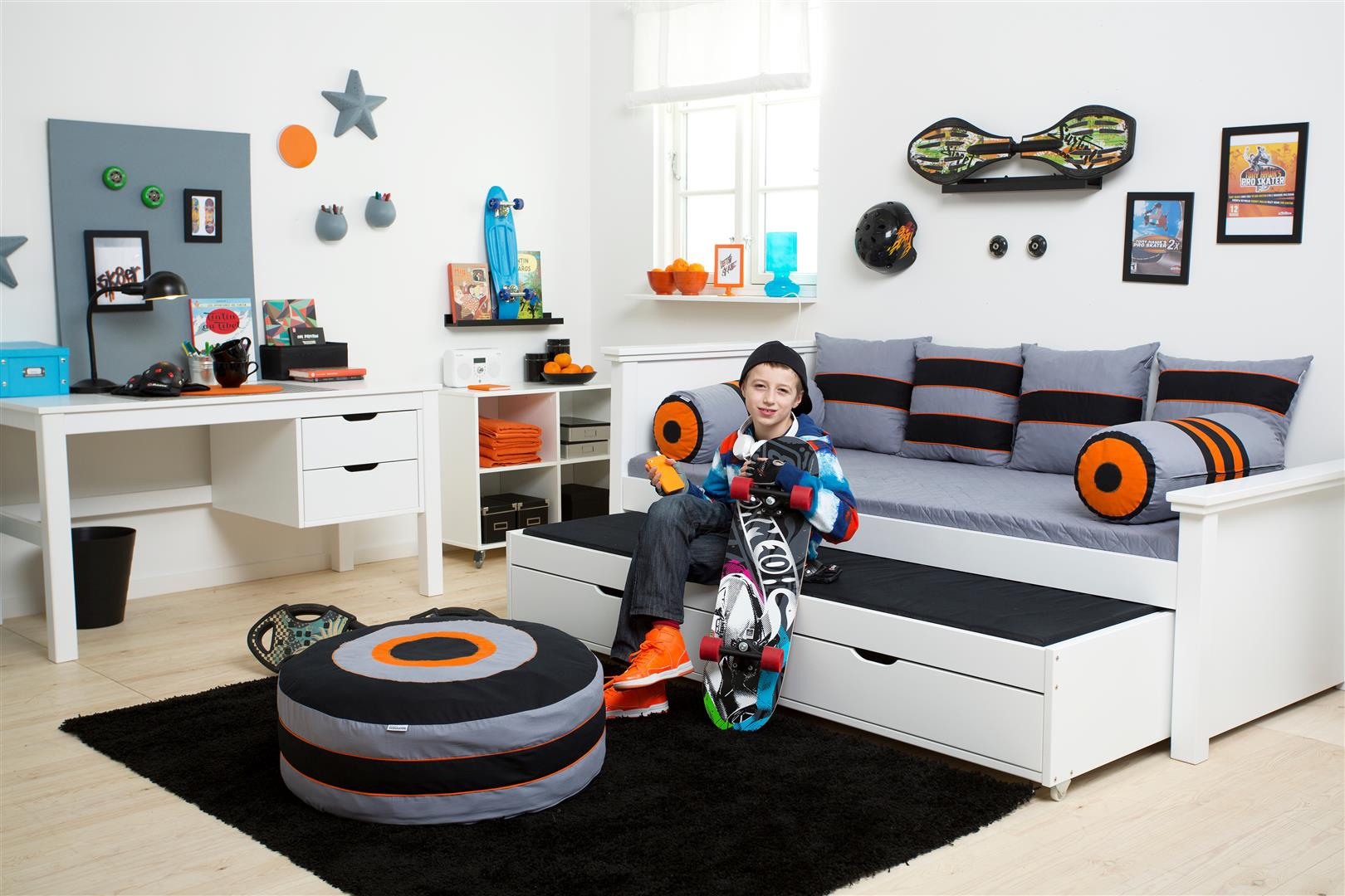 Lit banquette gigogne PERSONNALISABLE Skater couchage 90x200 cm- HOPPEKIDS