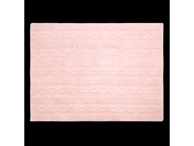 Tapis enfant TRENZAS rose soft en coton lavable 120x160cm / 80x120cm- LORENA CANALS