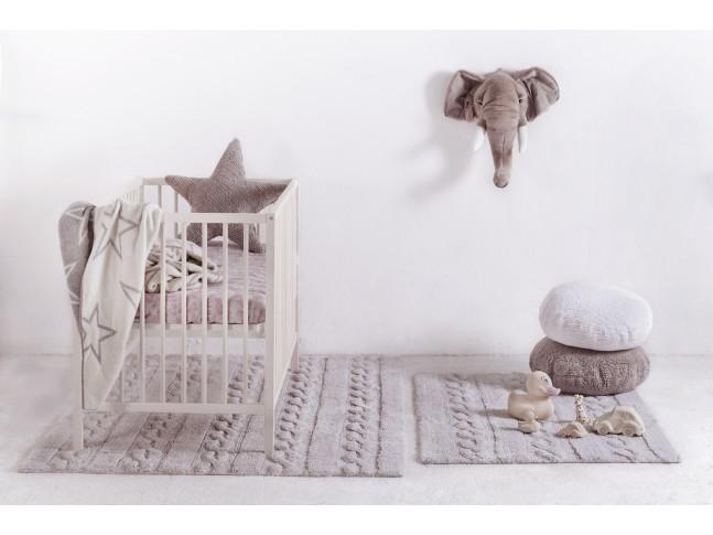 Tapis enfant TRENZAS gris perle en coton lavable 120x160cm / 80x120cm- LORENA CANALS