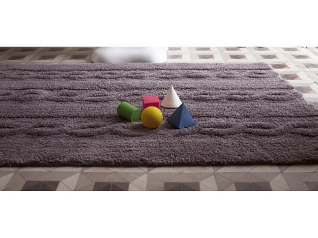 Tapis enfant TRENZAS gris antracite en coton lavable 120x160cm / 80x120cm- LORENA CANALS