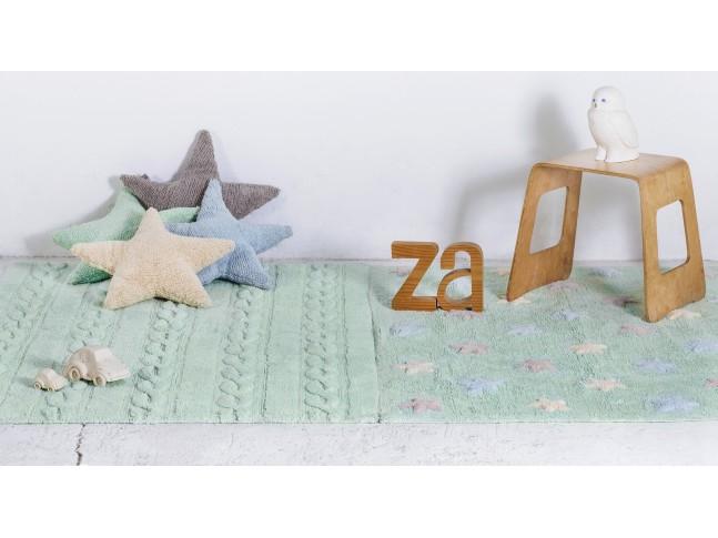 Tapis enfant TRENZAS menthe douce en coton lavable 120x160cm / 80x120cm- LORENA CANALS