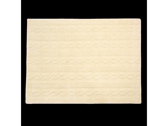 Tapis enfant TRENZAS vanille en coton lavable 120x160cm / 80x120cm- LORENA CANALS