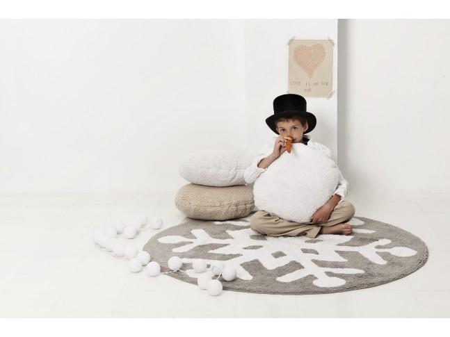 Tapis rond enfant FLOCON DE NEIGE diam. 140cm en coton lavable - LORENA CANALS
