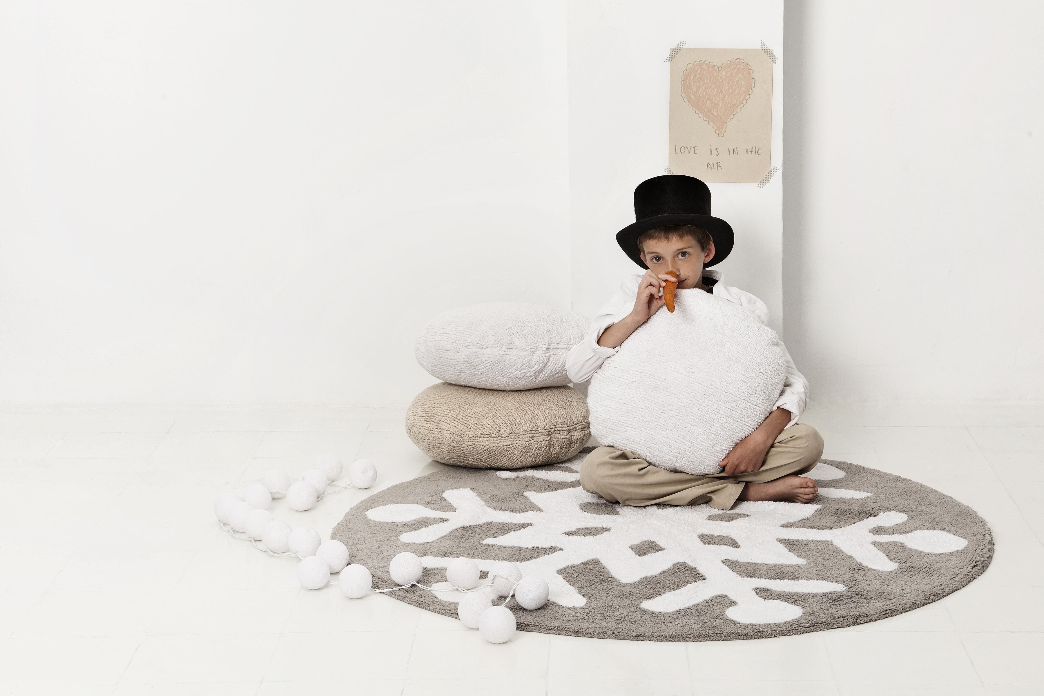 Tapis rond enfant FLOCON DE NEIGE rond diam. 140cm en coton lavable - LORENA CANALS