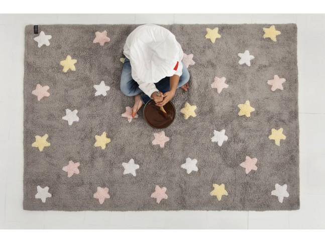 Tapis enfant STARS Tricolore 120x160cm en coton lavable - LORENA CANALS