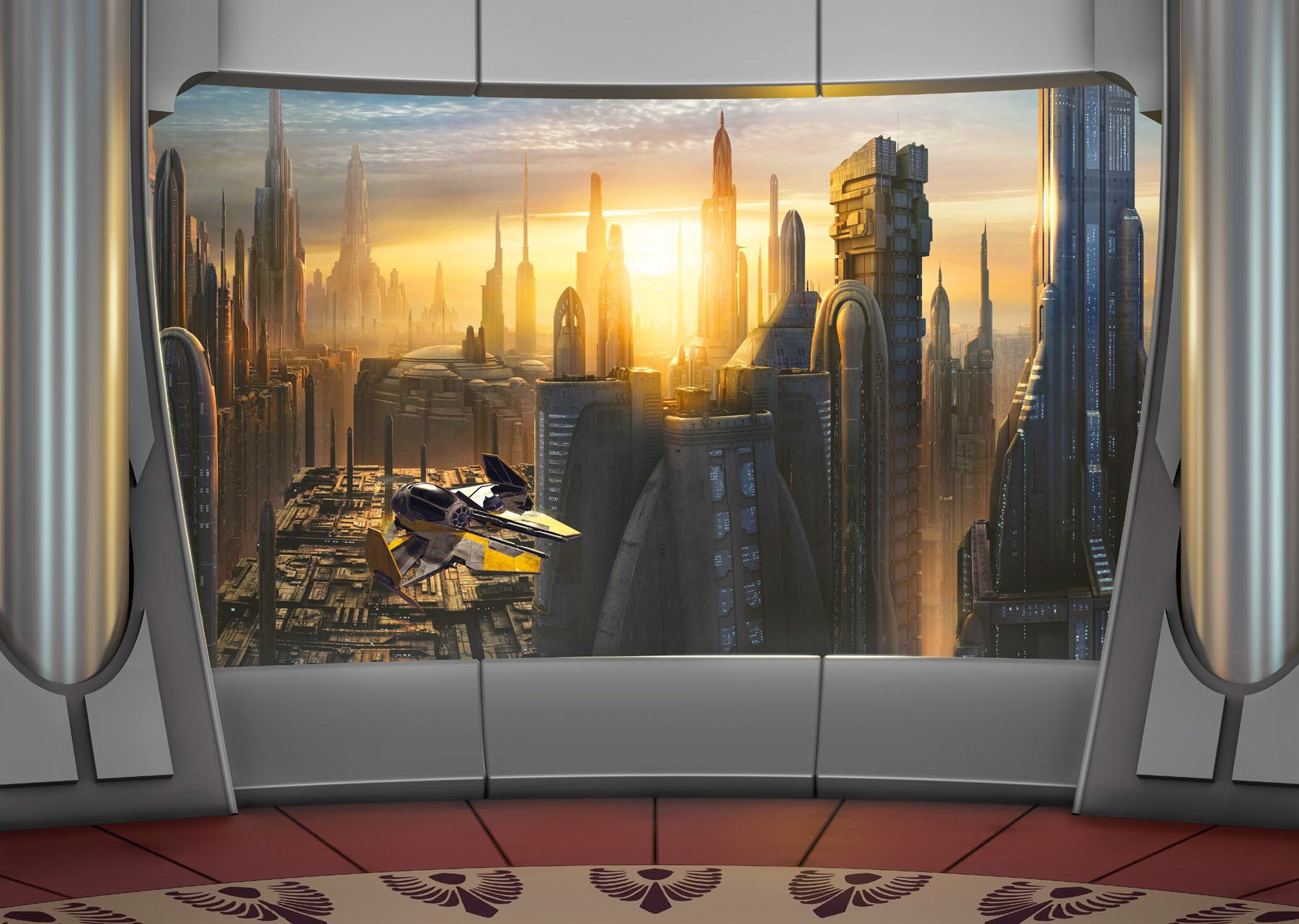 Poster xxl star wars plan te coruscant panoramique komar for Decoration porte star wars