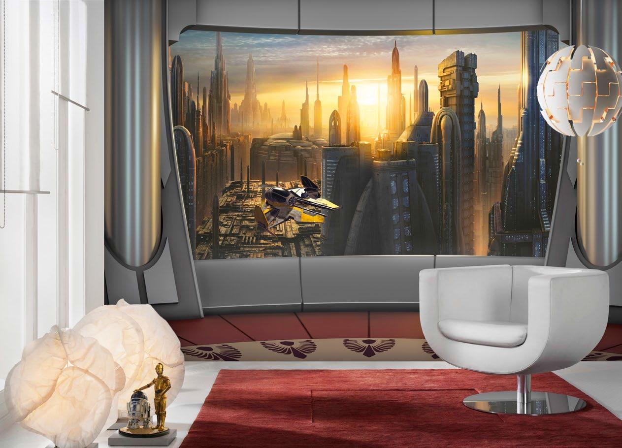 poster xxl star wars plan te coruscant panoramique komar. Black Bedroom Furniture Sets. Home Design Ideas