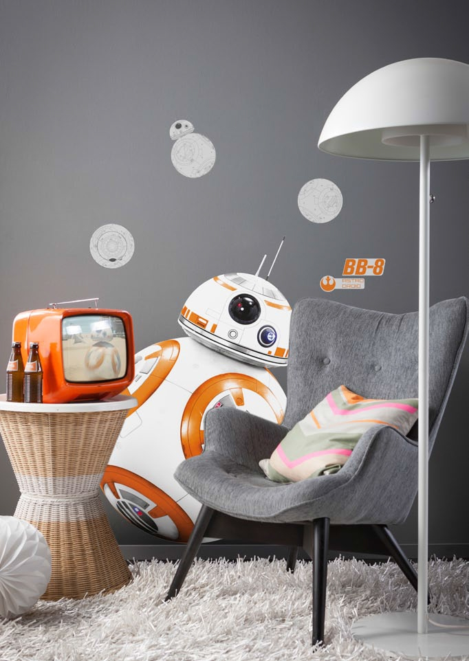 stickers muraux star wars droide bb 8 disney komar so nuit. Black Bedroom Furniture Sets. Home Design Ideas