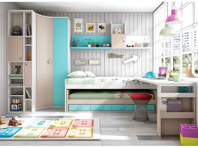 Chambre enfant garçon PERSONNALISABLE avec lit gigogne F059 - GLICERIO