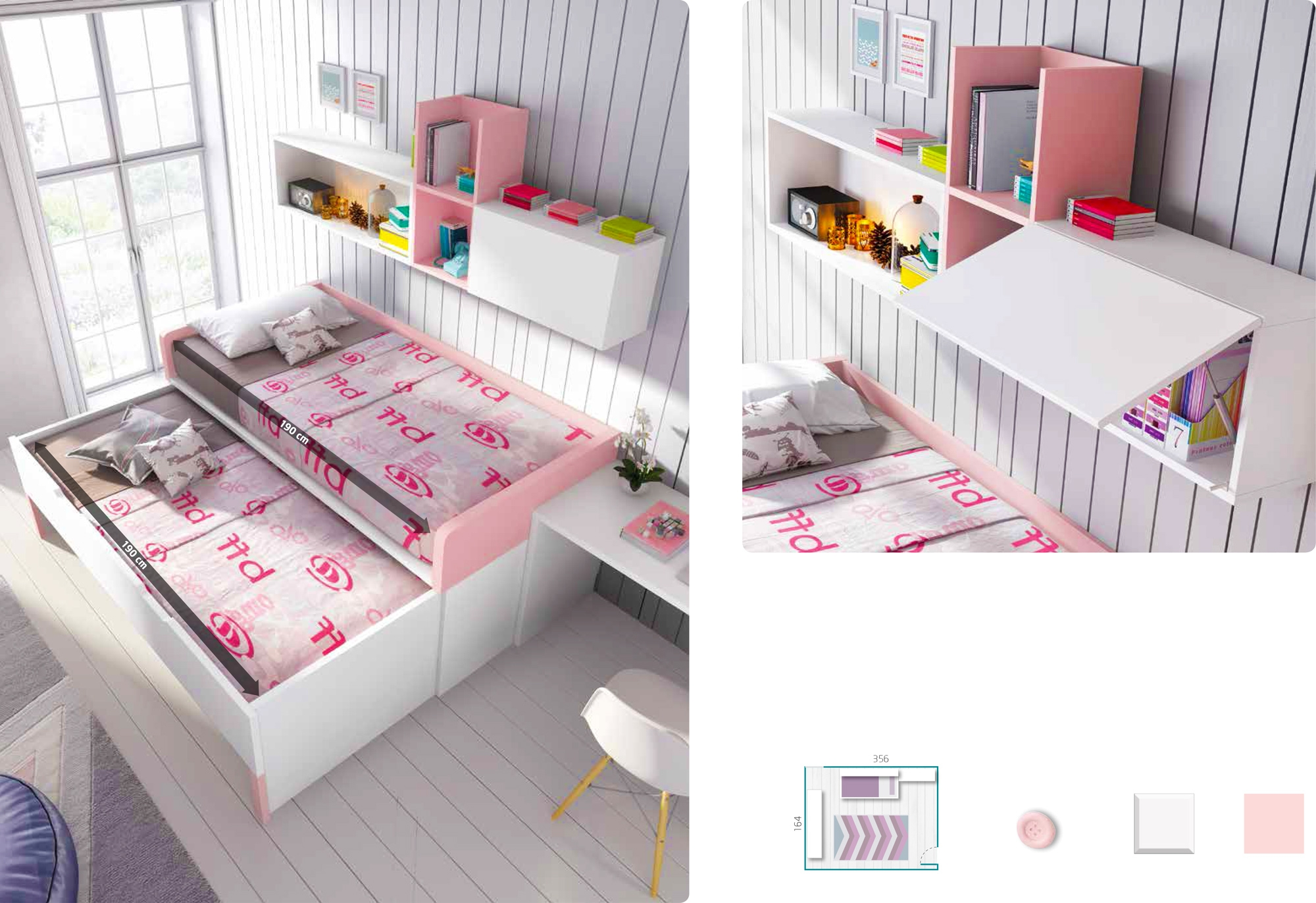 Chambre fille rose pl¨te  personnaliser girly GLICERIO SO NUIT