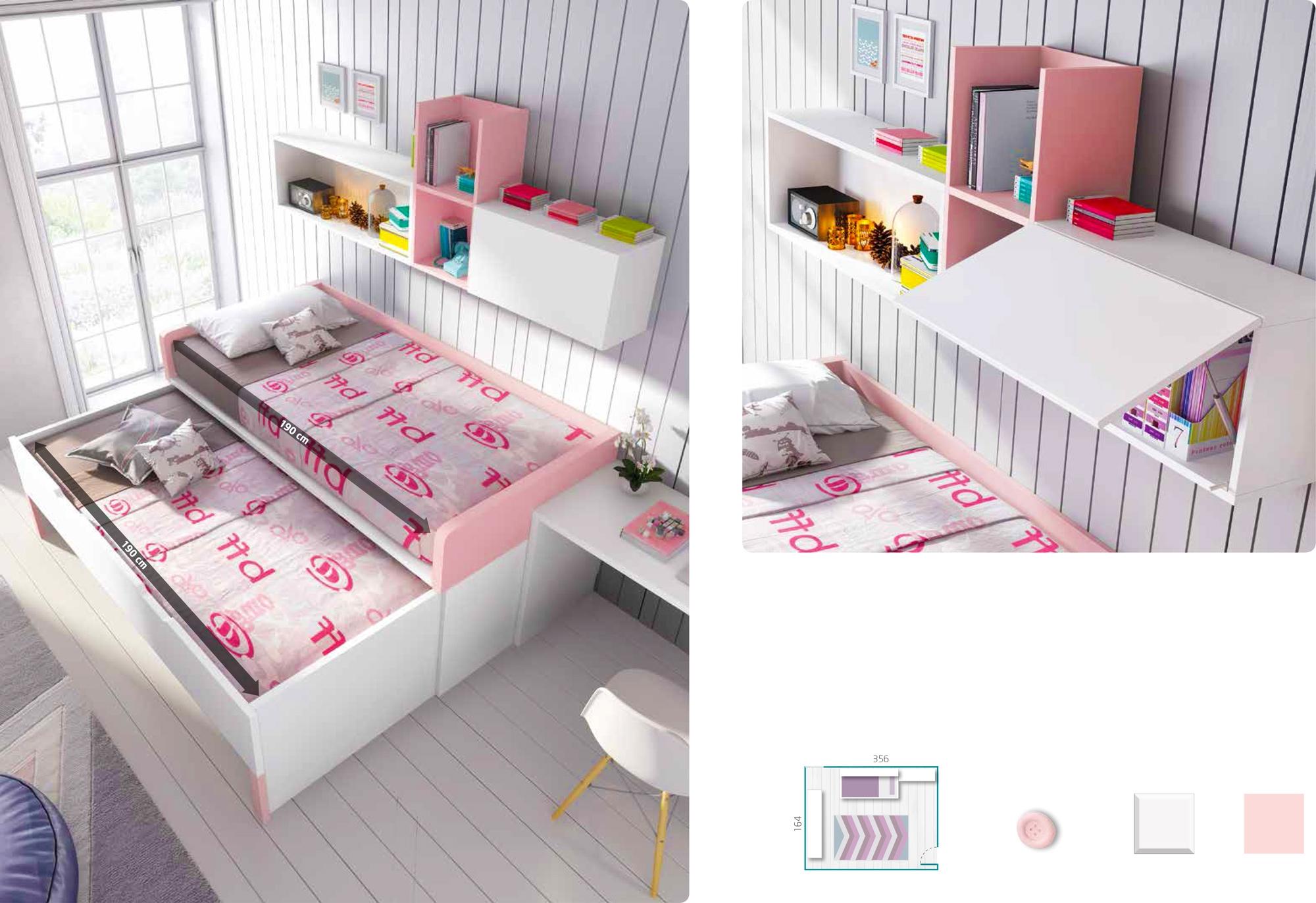 Chambre Fille Lit Gigogne : Chambre fille rose complète à personnaliser girly