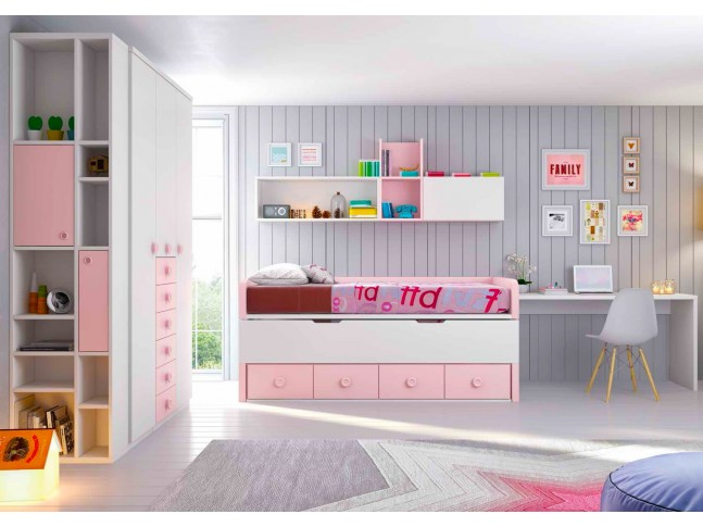chambre fille movil avec lit et bureau assorti asoral. Black Bedroom Furniture Sets. Home Design Ideas