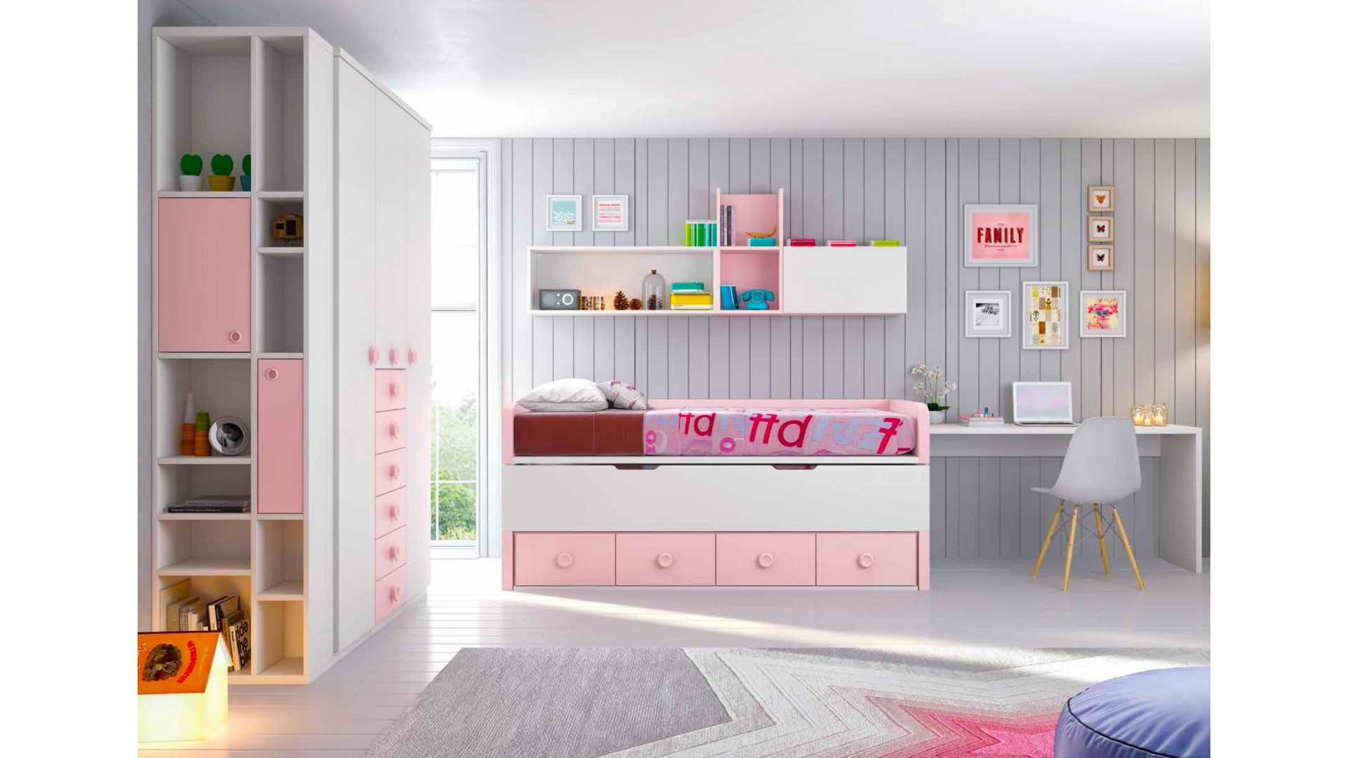 chambre fille rose compl te personnaliser girly glicerio so nuit. Black Bedroom Furniture Sets. Home Design Ideas