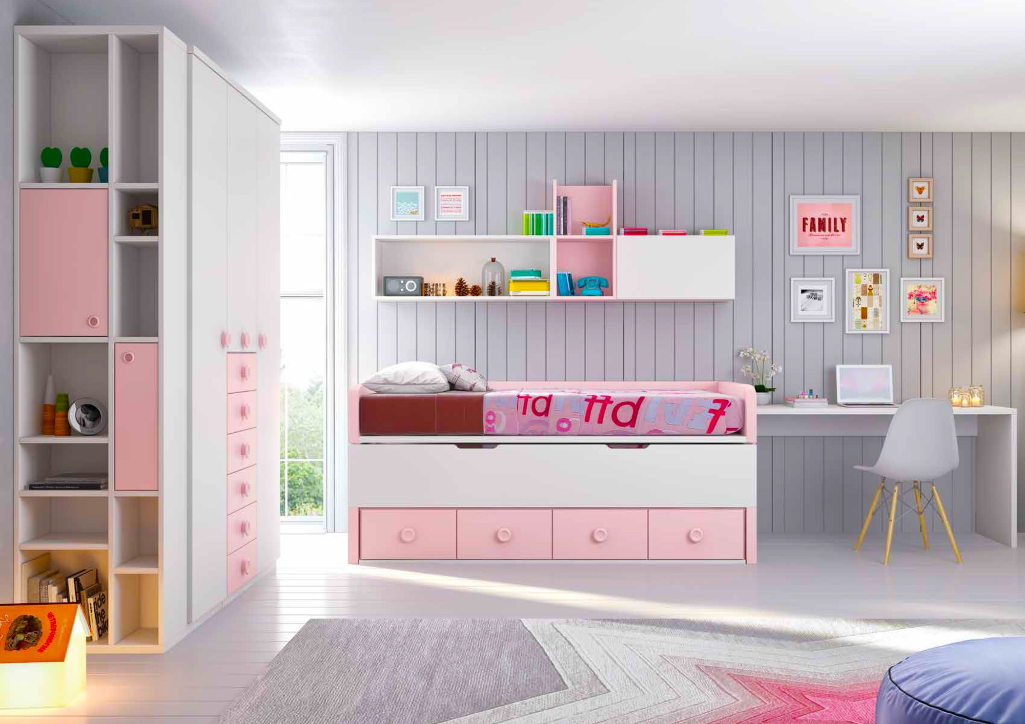 chambre fille rose compl te personnaliser girly. Black Bedroom Furniture Sets. Home Design Ideas